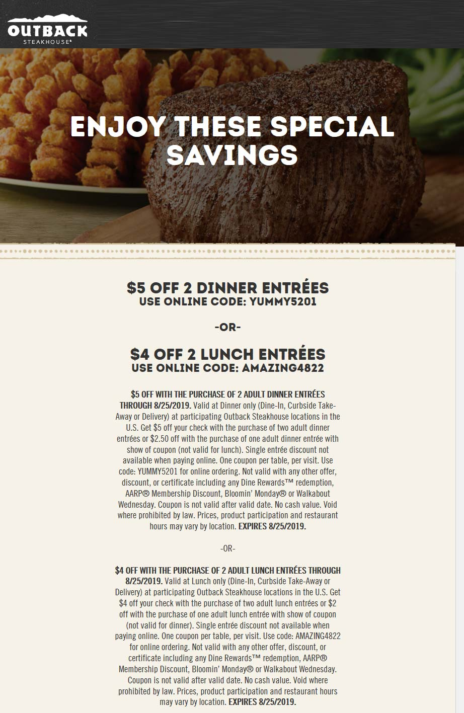 OutbackSteakhouse.com Promo Coupon $4-$5 off entrees at Outback Steakhouse