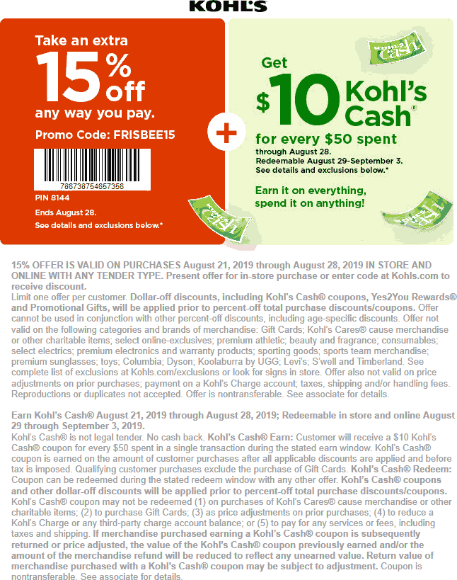 Kohls Coupon September 2019 15% off at Kohls, or online via promo code FRISBEE15