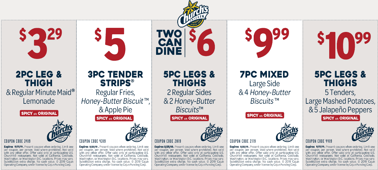 Churchs Chicken coupons & promo code for [April 2021]