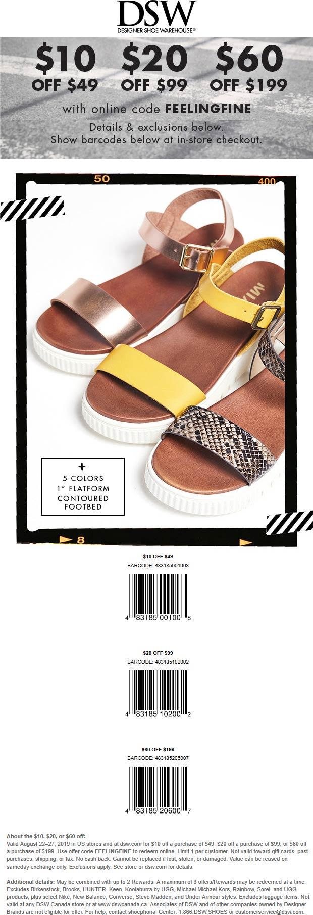 DSW Coupon January 2020 $10 off $49 & more at DSW shoe warehouse, or online via promo code FEELINGFINE
