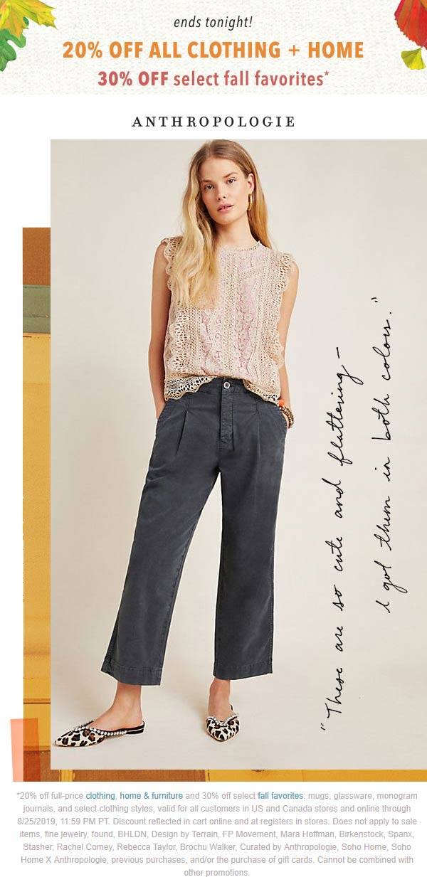 Anthropologie Coupon October 2019 20% off & more today at Anthropologie, ditto online