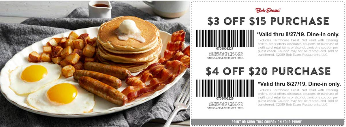Bob Evans coupons & promo code for [November 2020]