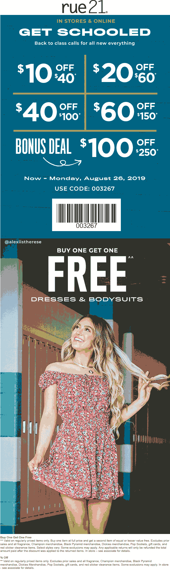 Rue21 Coupon September 2019 $10 off $40 & more at rue21, or online via promo code 003267