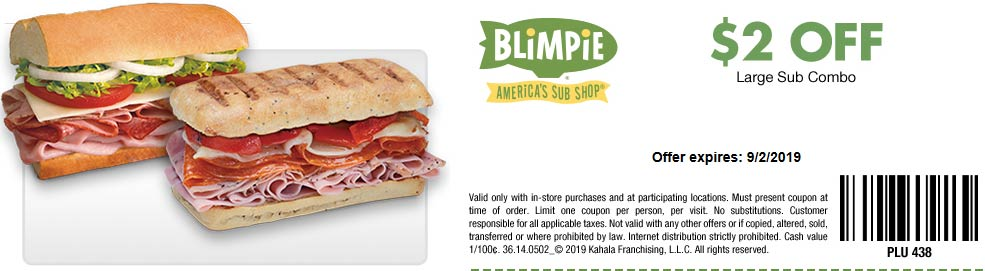 Blimpie Coupon February 2020 $2 off a large combo meal at Blimpie