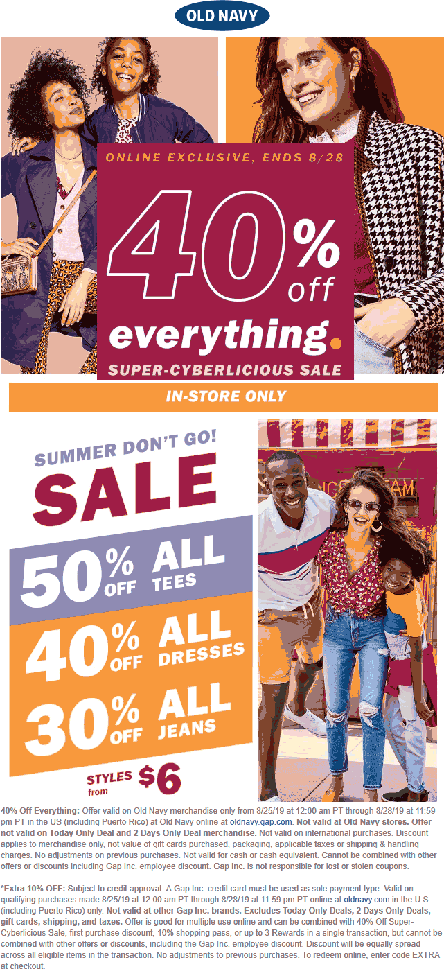 Old Navy Coupon October 2019 40% off everything online at Old Navy, no code needed