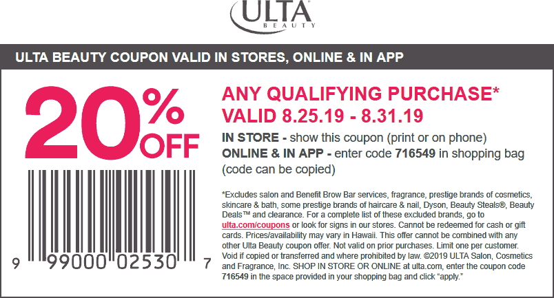 Ulta Beauty Coupon February 2020 20% off at Ulta Beauty, or online via promo code 716549