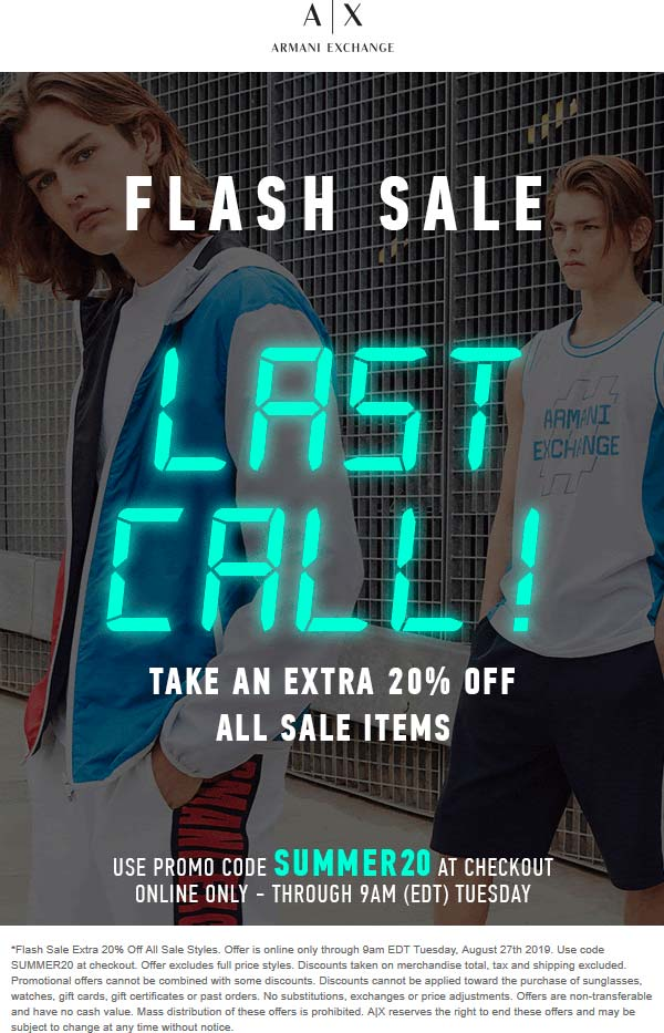 Armani Exchange Coupon November 2019 Extra 20% off sale items online at Armani Exchange via promo code SUMMER20