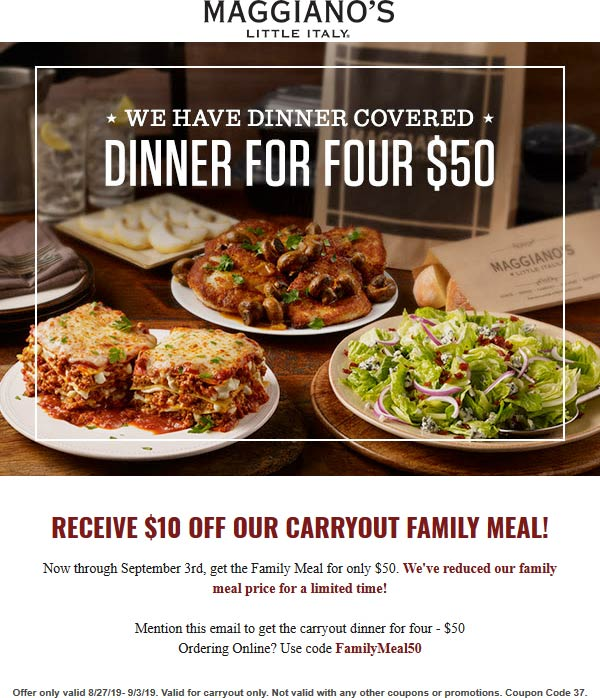Maggianos Little Italy coupons & promo code for [September 2020]