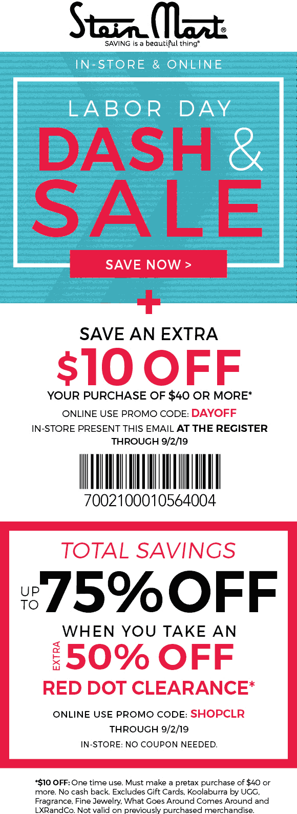 Stein Mart Coupon November 2019 $10 off $40 at Stein Mart, or online via promo code DAYOFF
