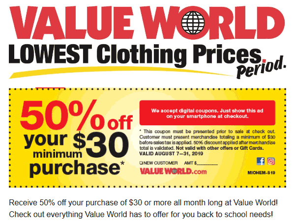 Value World Coupon October 2019 50% off $30+ at Value World
