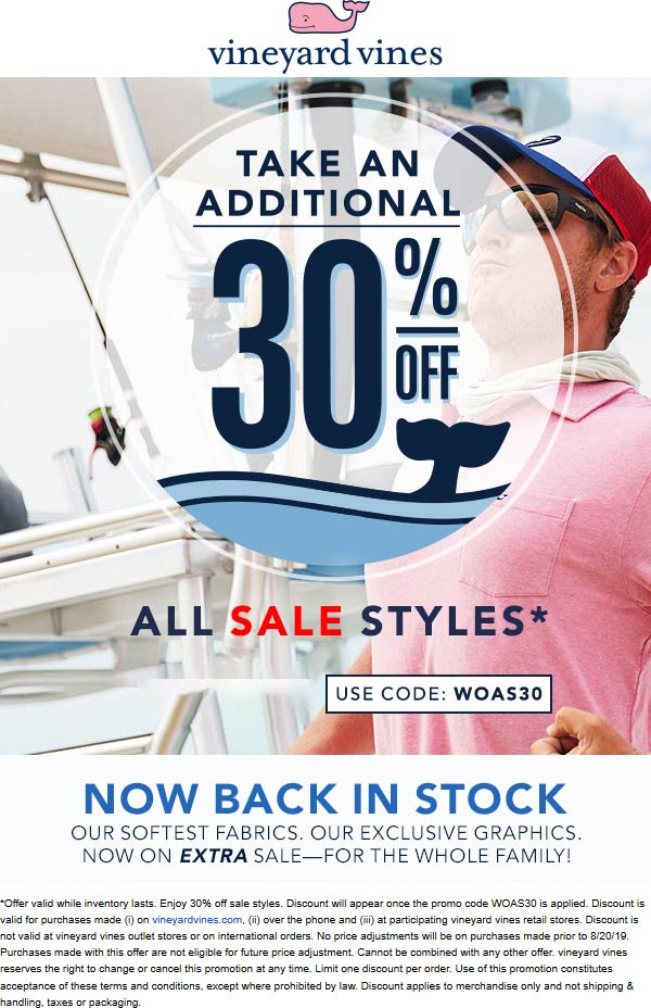 Vineyard Vines Coupon February 2020 Extra 30% off sale items at Vineyard Vines, or online via promo code WOAS30