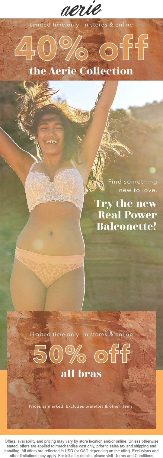 Aerie Coupon January 2020 40% off at Aerie, ditto online