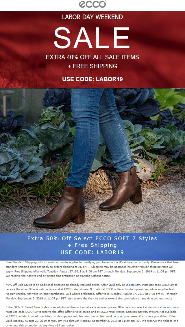 ECCO Coupon February 2020 Extra 40% off sale items at ECCO, or online via promo code LABOR19