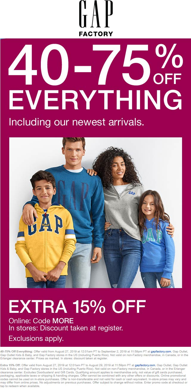 Gap Factory coupons & promo code for [April 2020]