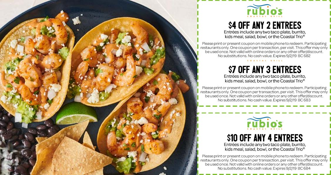 Rubios Coupon November 2019 $4-$10 off your entrees at Rubios Coastal Grill