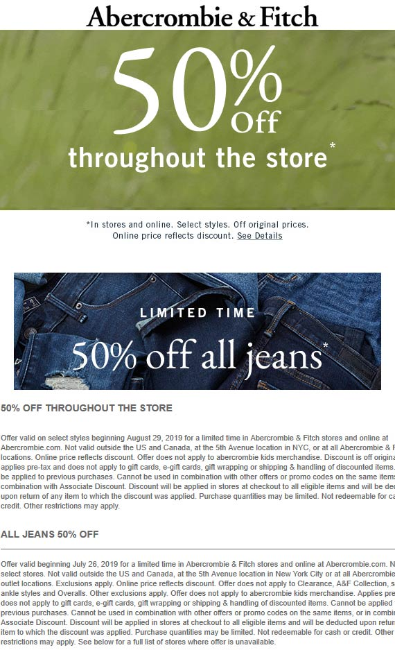 Abercrombie & Fitch coupons & promo code for [January 2021]
