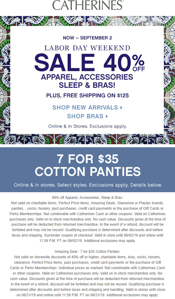 Catherines Coupon November 2019 40% off at Catherines, ditto online