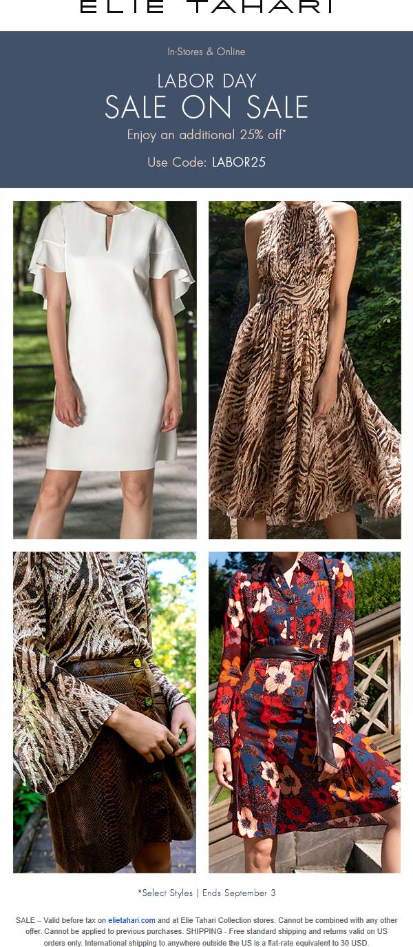 Elie Tahari coupons & promo code for [July 2020]
