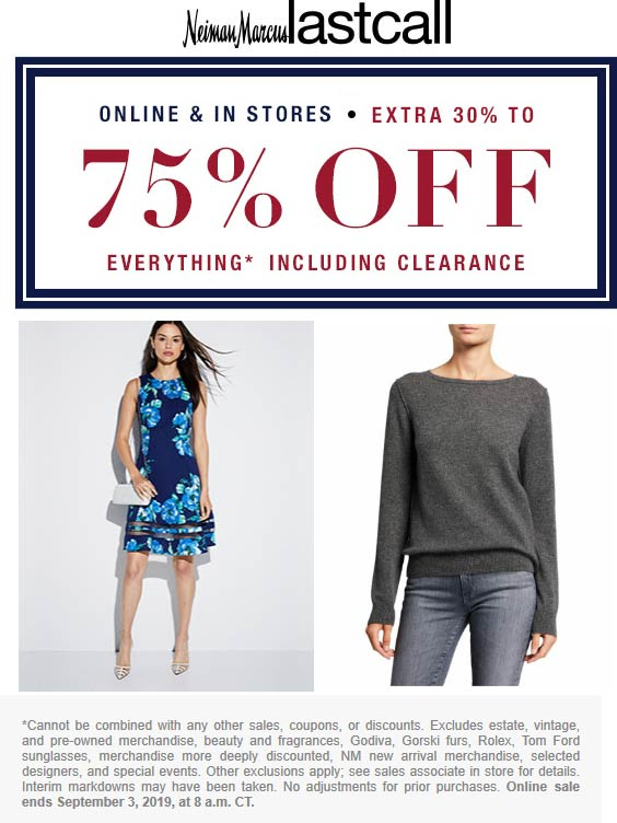 Last Call Coupon January 2020 Extra 30-75% off everything at Neiman Marcus Last Call, ditto online