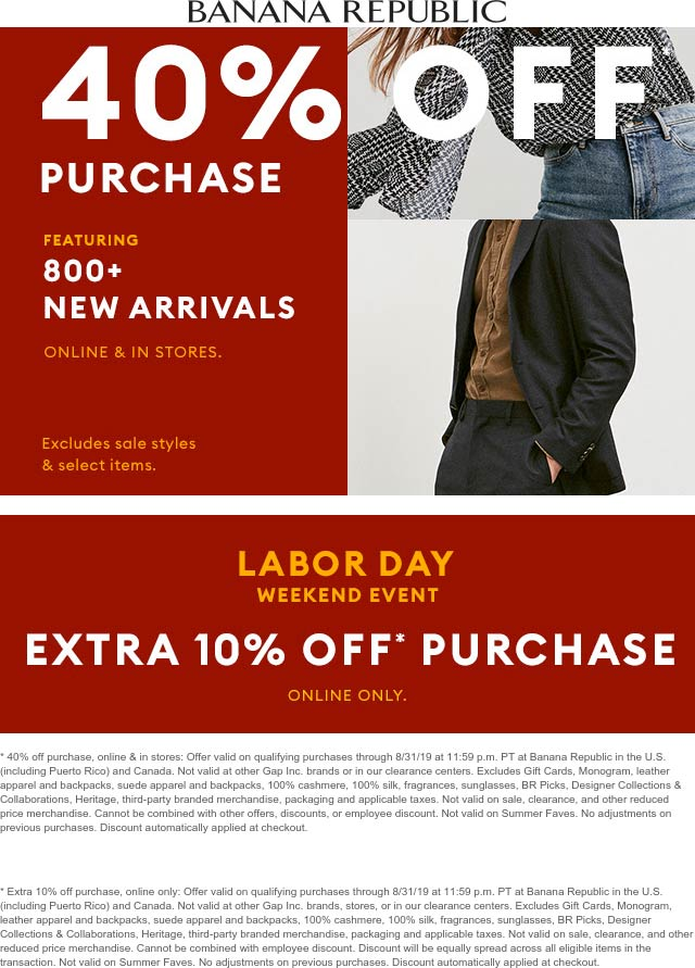 Banana Republic Coupon February 2020 40% off today at Banana Republic, or 50% online no code needed