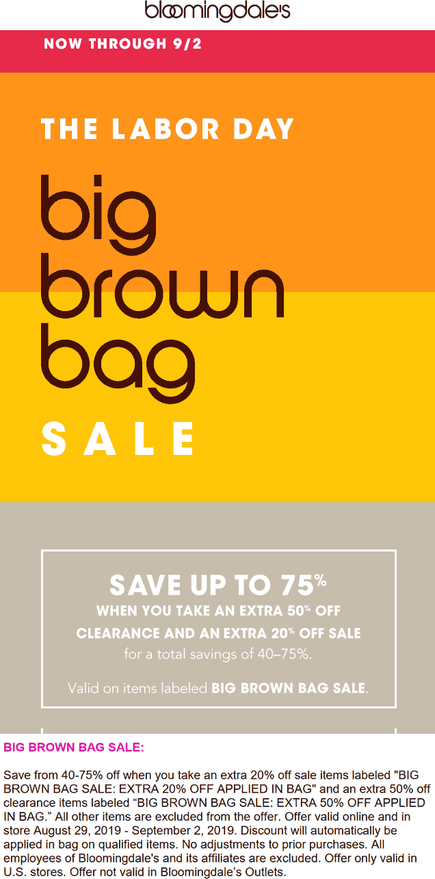 Bloomingdales Coupon October 2019 Extra 20% off sale items & more at Bloomingdales, ditto online