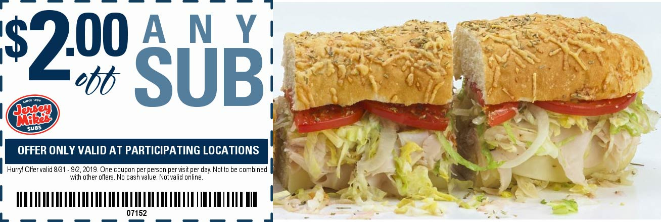 Jersey Mikes Coupon February 2020 $2 off any sub at Jersey Mikes restaurants