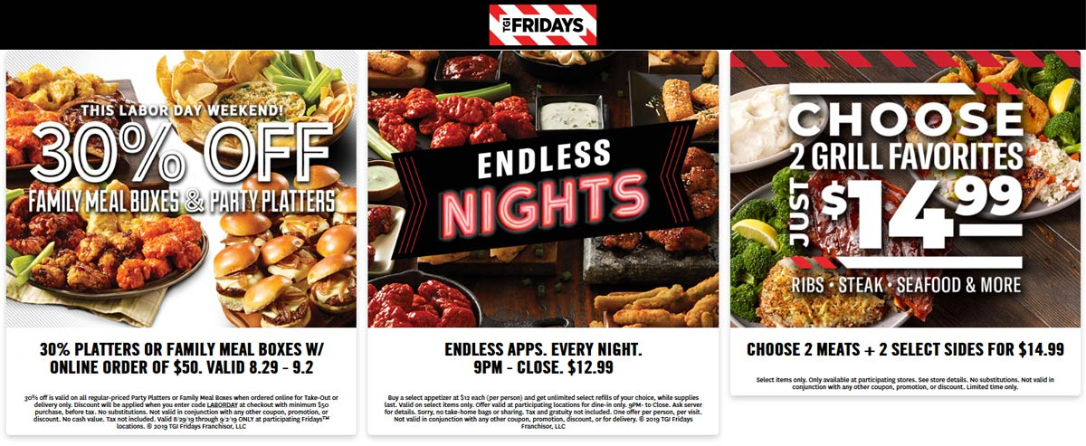 TGI Fridays Coupon October 2019 30% off family meal online orders & more at TGI Fridays