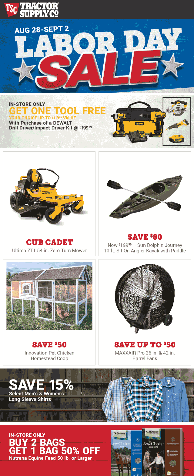 Tractor Supply Co Coupon January 2020 Free DeWalt power tool with your impact driver at Tractor Supply Co