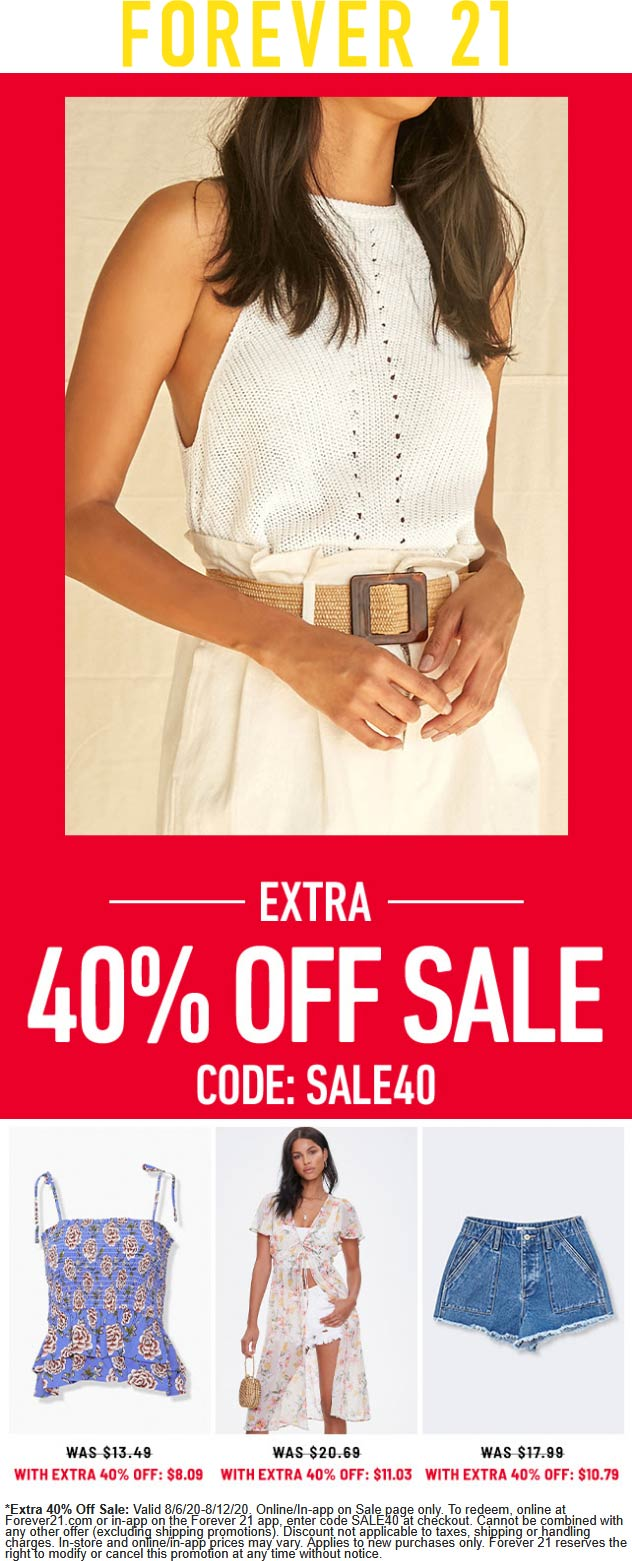 Extra 40% off sale items at Forever 21 via promo code SALE40 #forever21