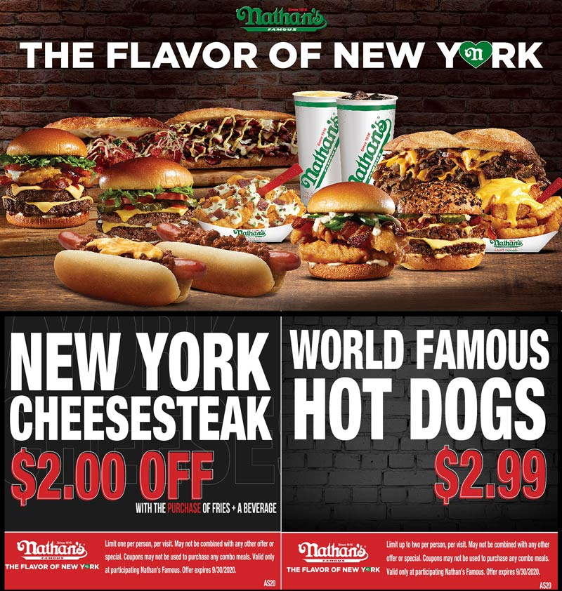 Nathans Famous stores Coupon  $2 off cheesesteak & $3 hot dogs at Nathans Famous #nathansfamous
