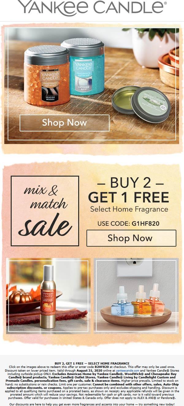 3rd home fragrance free at Yankee Candle, or online via promo code B2HF820 or G1HF820 #yankeecandle