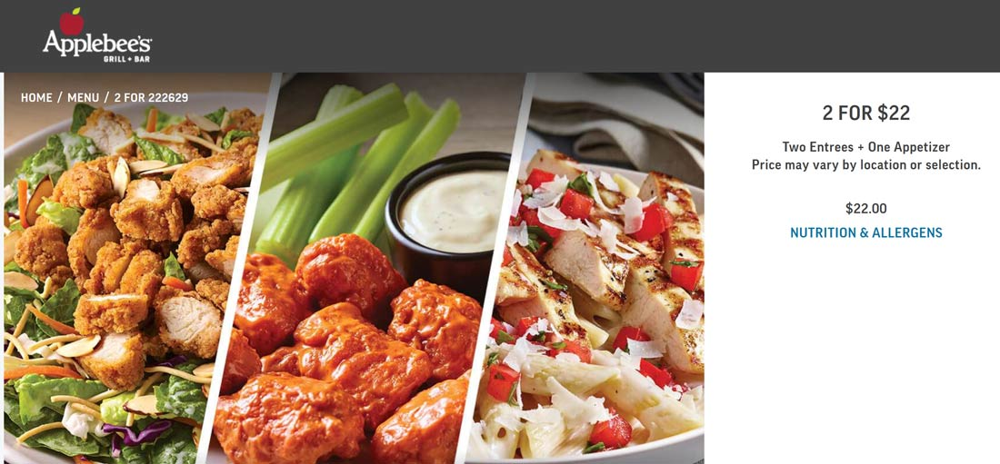 Applebees restaurants Coupon  2 entrees + appetizer = $22 at Applebees #applebees