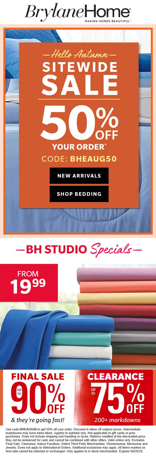 Brylane Home stores Coupon  50% off everything at Brylane Home via promo code BHEAUG50 #brylanehome