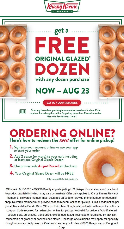 Krispy Kreme restaurants Coupon  Second dozen doughnuts free for rewards members at Krispy Kreme donuts #krispykreme