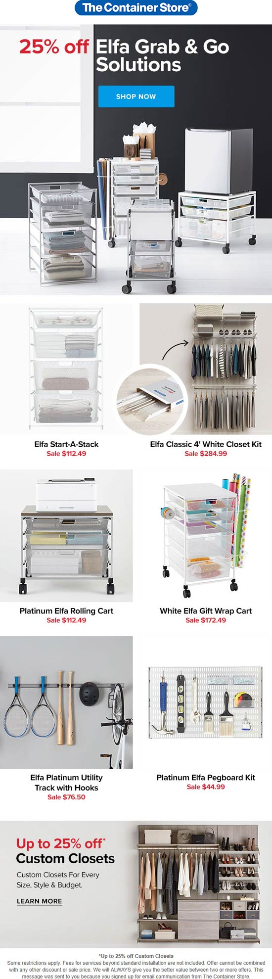 The Container Store stores Coupon  25% off Elfa grab & go at The Container Store #thecontainerstore