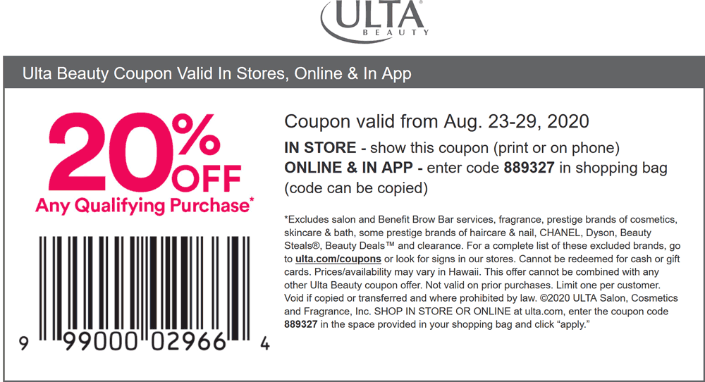 November 2020 20 Off At Ulta Beauty Or Online Via Promo Code 889327 Ultabeauty Coupon Promo Code The Coupons App