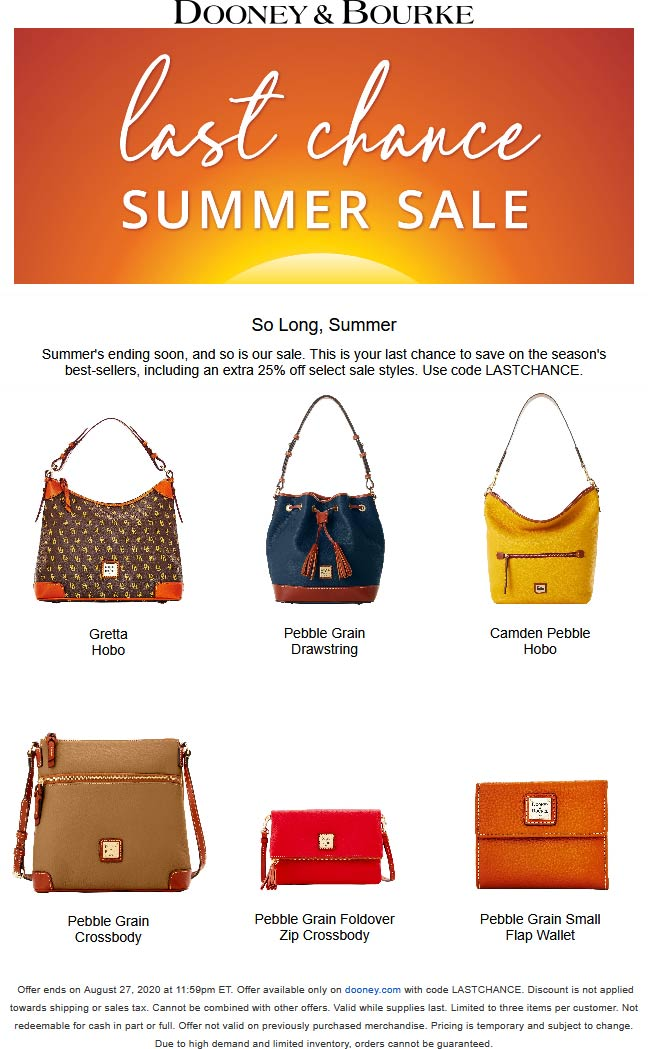 Extra 25% off sale summer items today at Dooney & Bourke via promo code LASTCHANCE #dooneybourke
