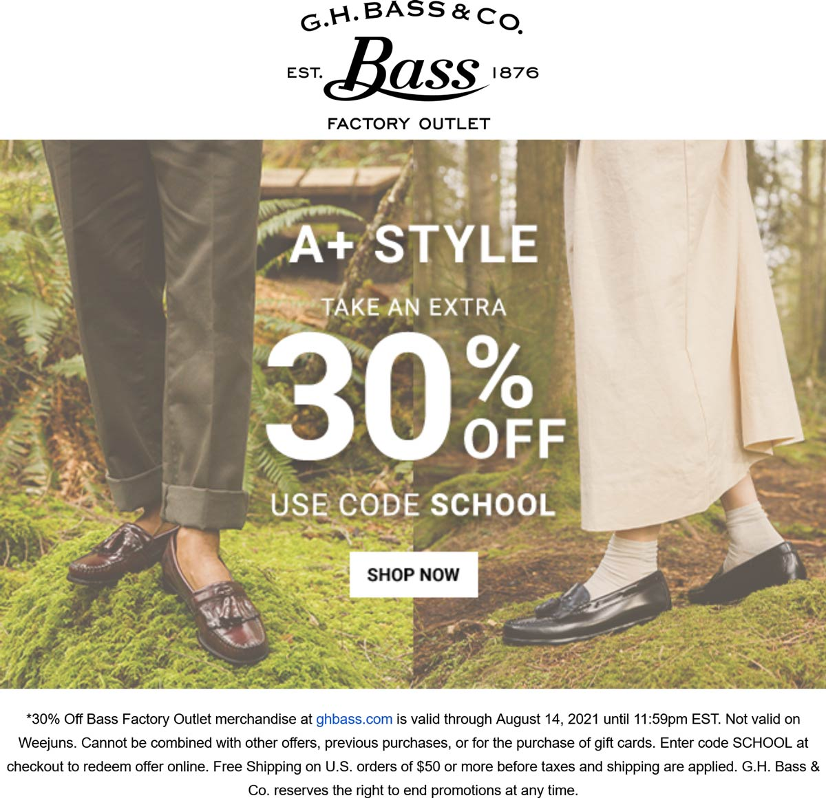 G.H. Bass & Co. Factory Outlet stores Coupon  Extra 30% off online at G.H. Bass & Co. Factory Outlet via promo code SCHOOL #ghbasscofactoryoutlet