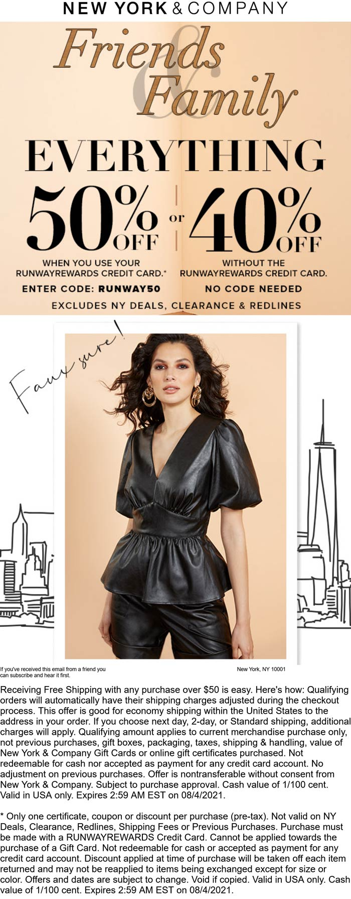 New York & Company stores Coupon  40% off everything today at New York & Company #newyorkcompany