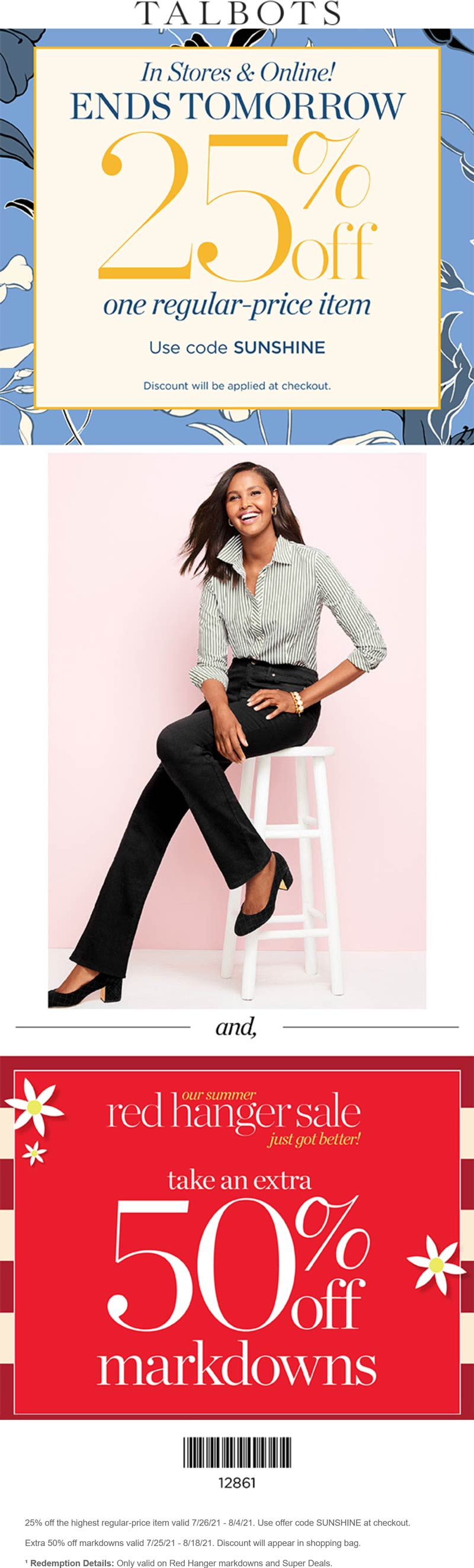Talbots stores Coupon  25% off a single item at Talbots, or online via promo code SUNSHINE #talbots