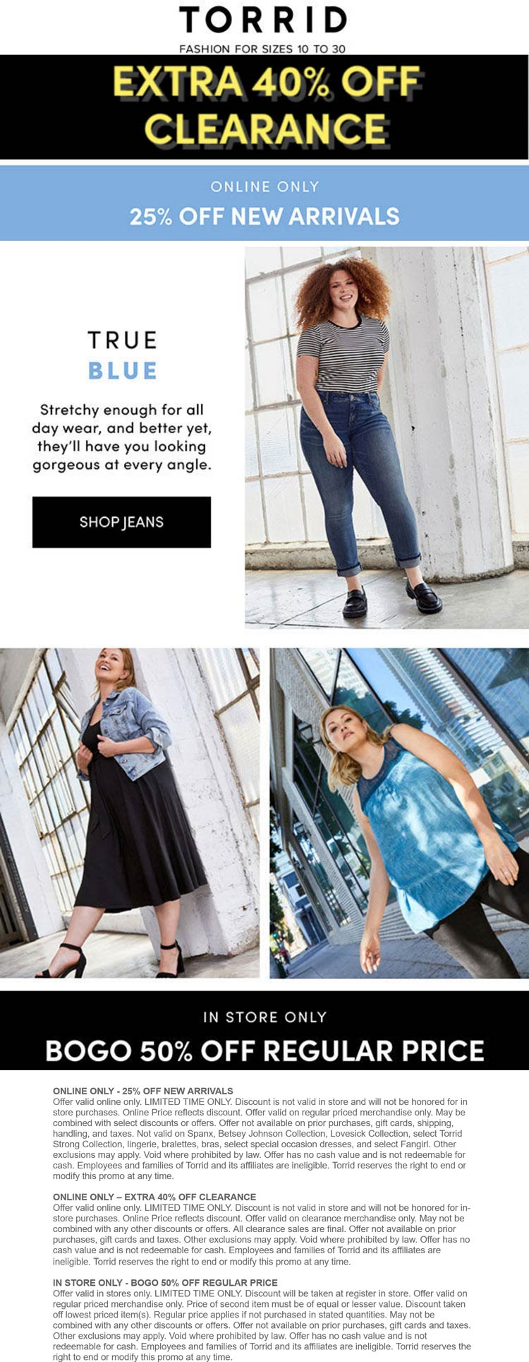 Torrid stores Coupon  Second item 50% off at Torrid, or 25% new arrivals & 40% off clearance online #torrid