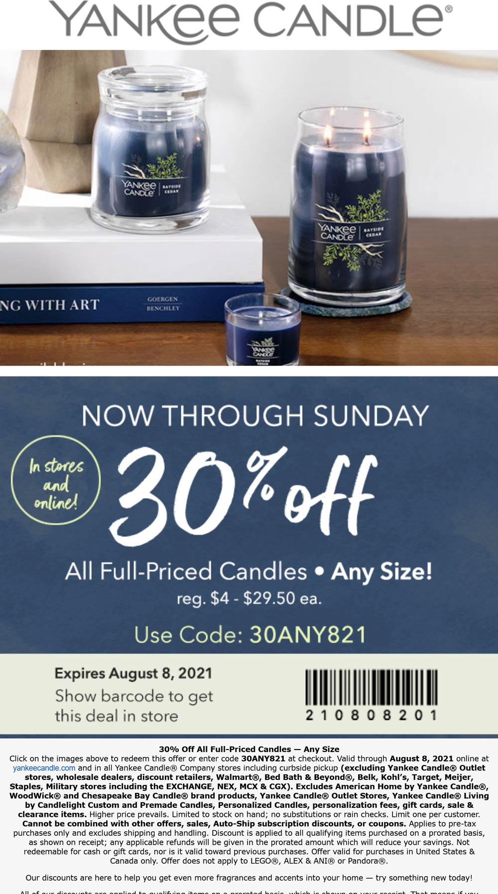 Yankee Candle stores Coupon  30% off all candles at Yankee Candle, or online via promo code 30ANY821 #yankeecandle