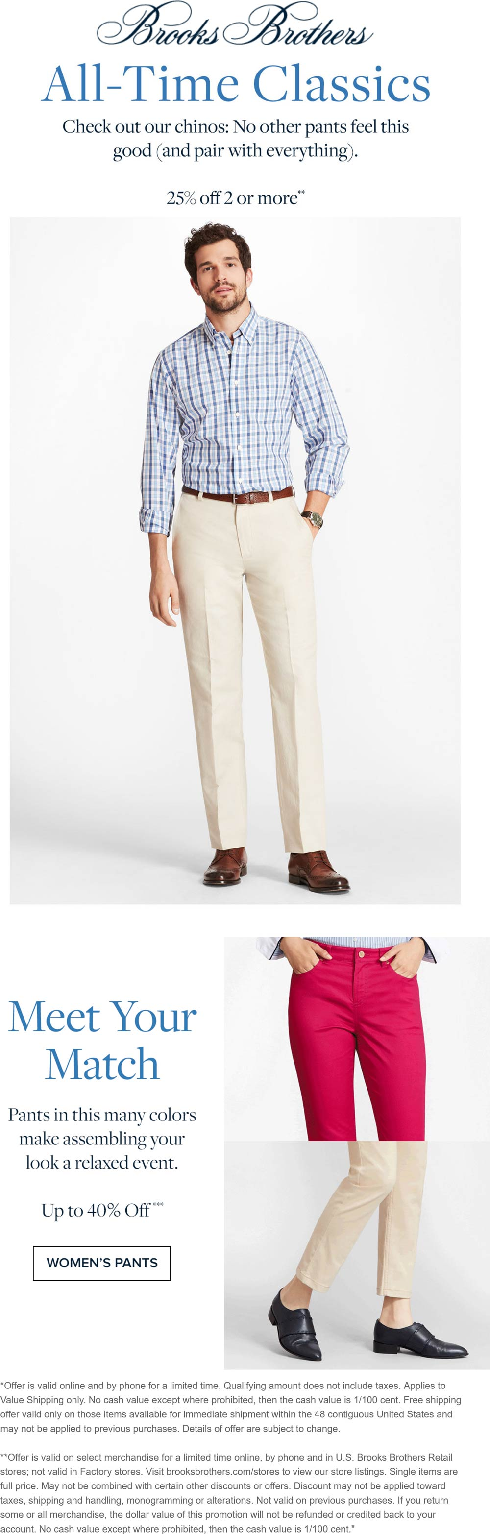 Brooks Brothers stores Coupon  25% off 2+ chino pants at Brooks Brothers, ditto online #brooksbrothers