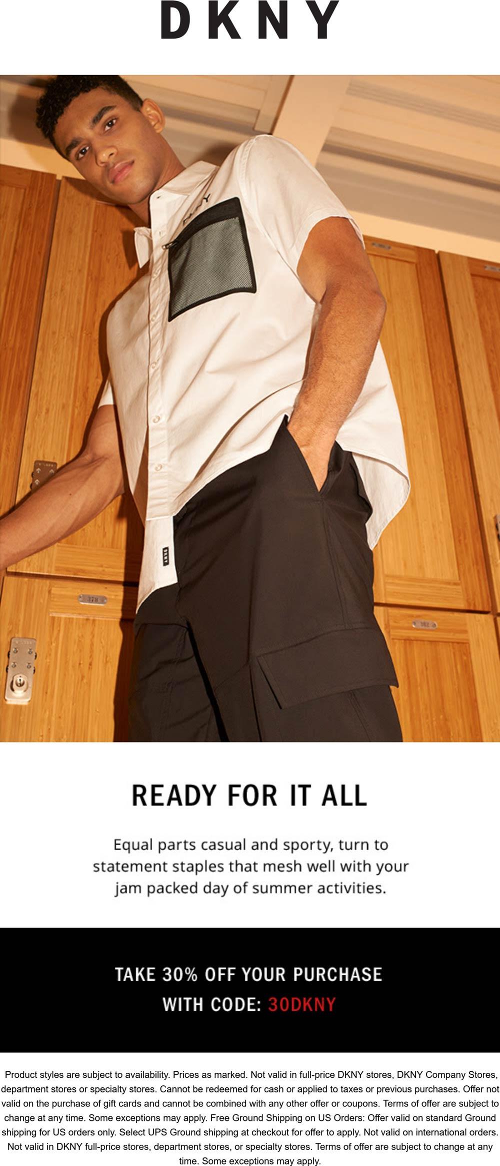 DKNY stores Coupon  30% off at DKNY via promo code 30DKNY #dkny