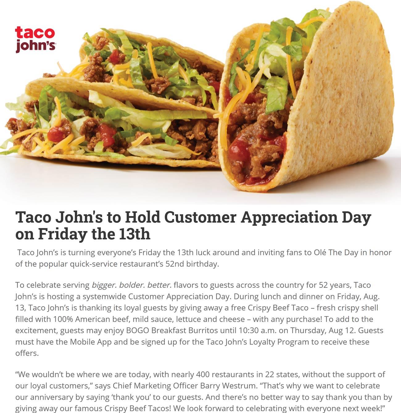 Taco Johns restaurants Coupon  Free taco Friday at Taco Johns, also bogo breakfast burritos Thurs #tacojohns