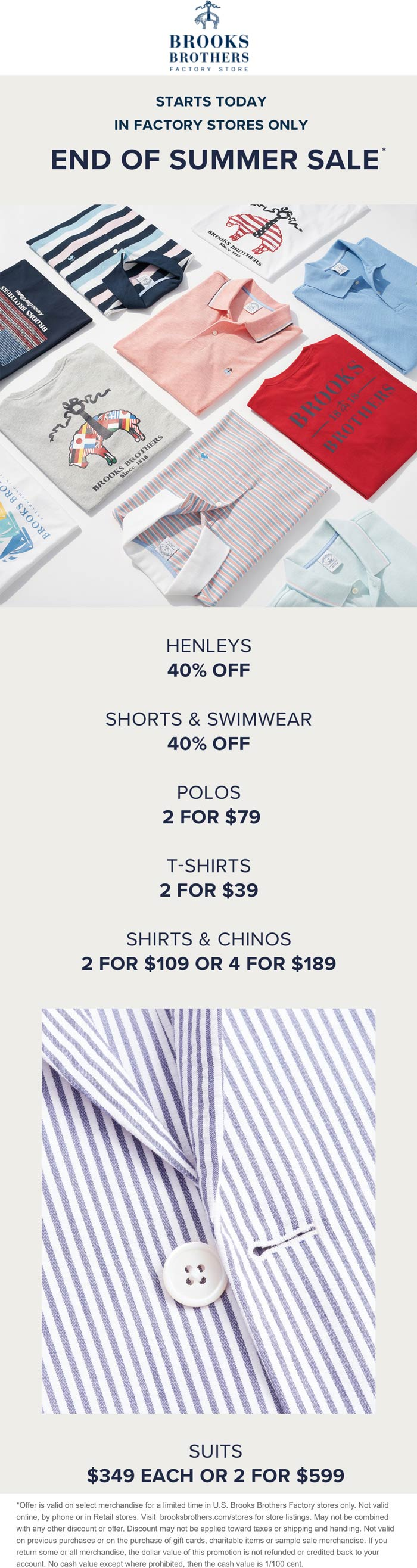 Brooks Brothers Factory Store stores Coupon  40% off henleys & more at Brooks Brothers Factory Store, also online #brooksbrothersfactorystore