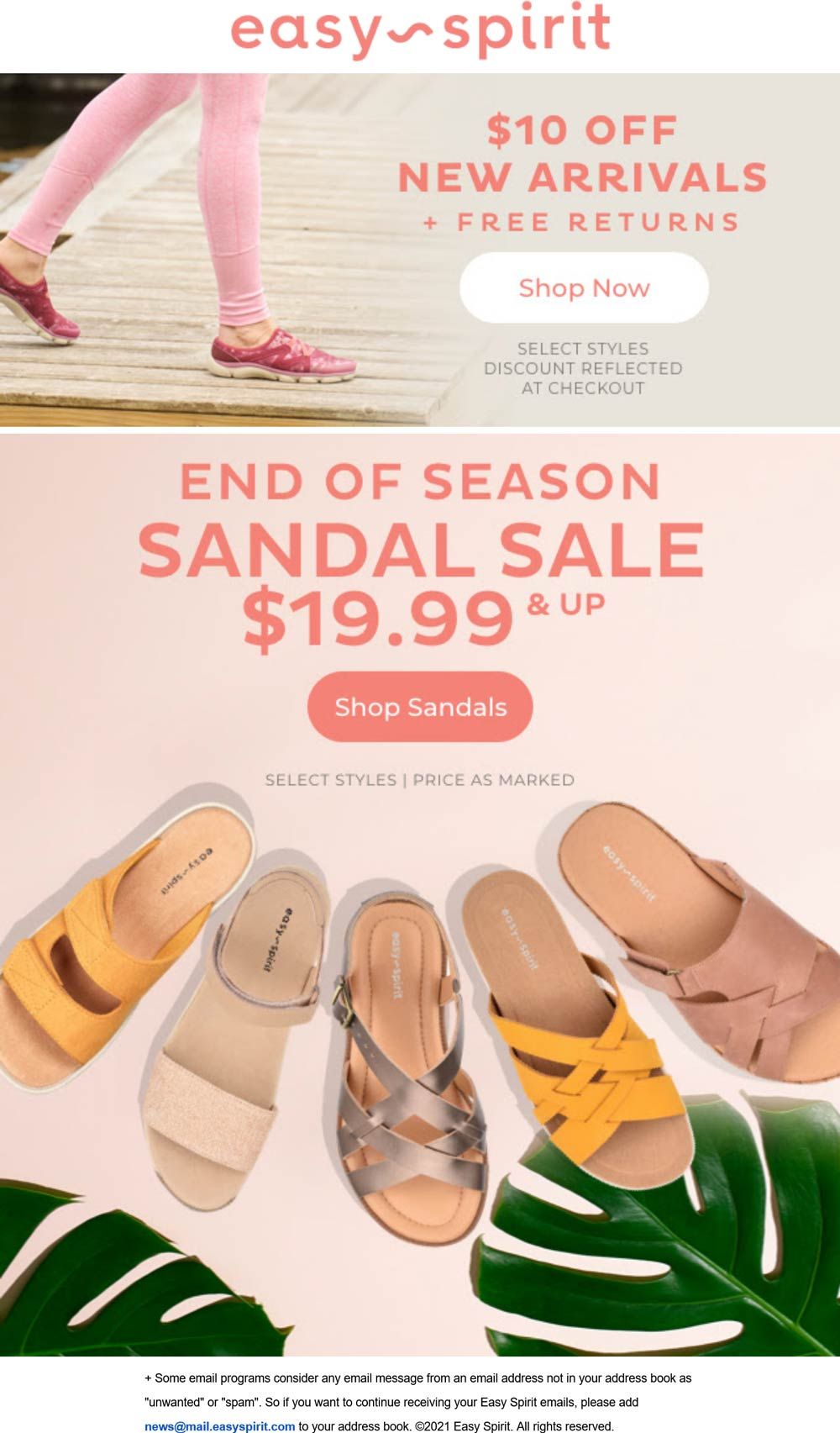Easy Spirit stores Coupon  $10 off new arrivals at Easy Spirit shoes #easyspirit