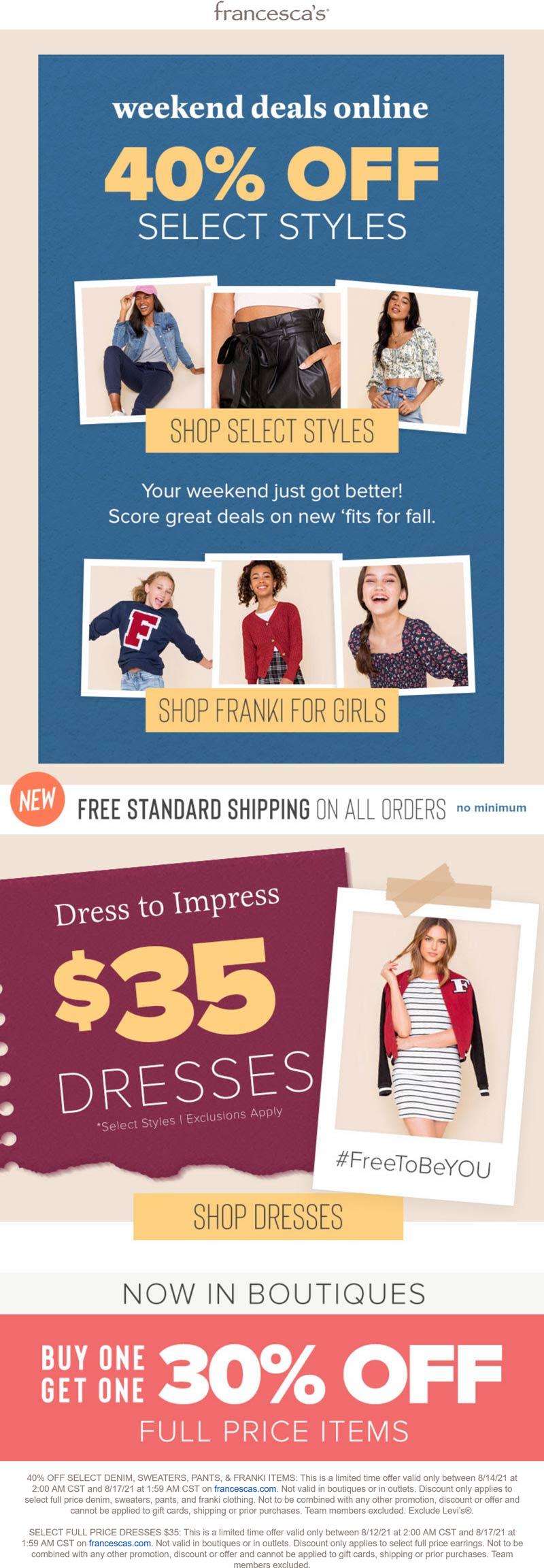 Francescas stores Coupon  Second item 30% off & more at Francescas, or 40% off various online #francescas