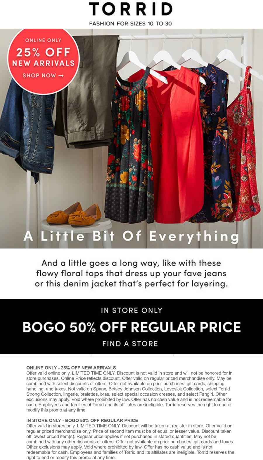 Torrid stores Coupon  Second item 50% off at Torrid, or 25% off new arrivals online #torrid