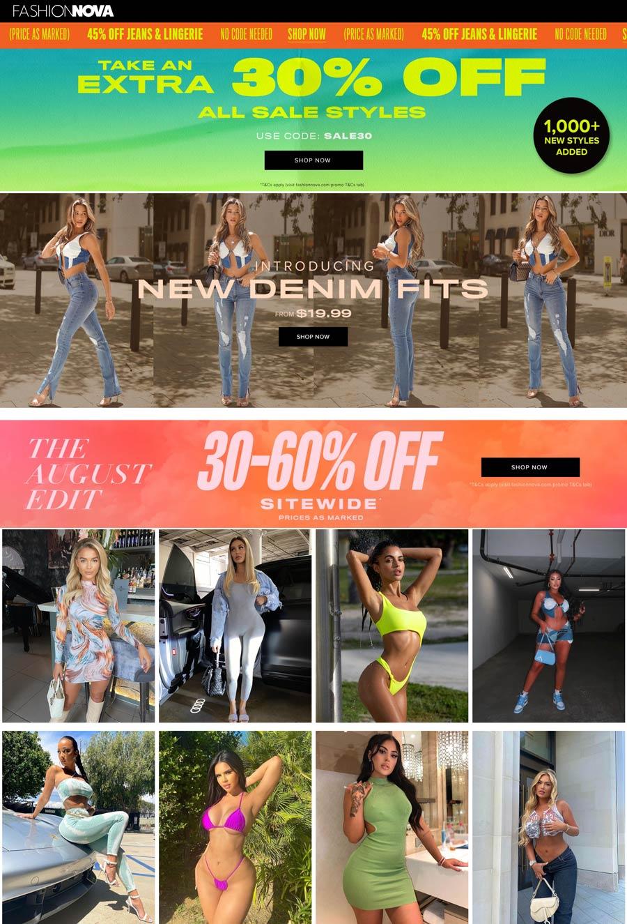 Fashion Nova stores Coupon  Extra 30% off sale styles & 30-60% off everything at Fashion Nova via promo code SALE30 #fashionnova